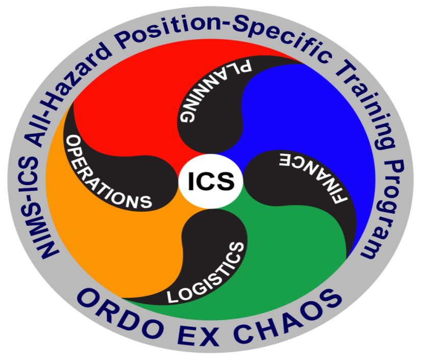 NIMS-ICS All-Hazard Position-Specific Training Program Logo - ORDO EX CHAOS - Planning, Finance, Logistics, Operations