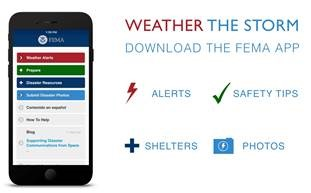 Main screen of the FEMA Mobile App highlighting four top menu items: Weather Alerts - Receive alerts from the National Weather Service for up to five locations; Prepare - Get safety reminders, read tips to survive natural disasters, and customize your emergency checklist; Disaster Support - Locate open shelters and where to talk to FEMA in person (or on the phone); and Submit Disaster Photos - Upload and share your disaster photos to help first responders. Additional menu items shown include Contenido en español (Content in Spanish), How to Help, and Blog.